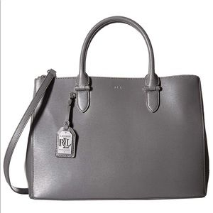 "Ralph Lauren ""Newbury"" Double Zip Leather Satchel"